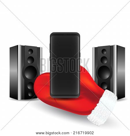 A new best, modern smartphone, New Year's offer, Santa's mitt keeps an empty black phone and speakers.