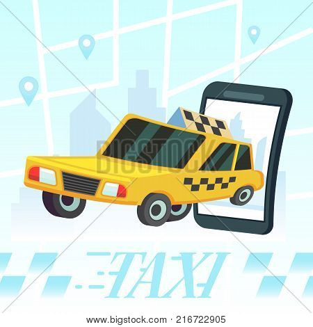 Mobile Auto Application. Transport Service, Position Pin On Map. Vector Colorful Illustration In Fla