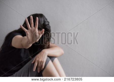 Woman hand sign for stop abusing violence Human Rights Day concept.