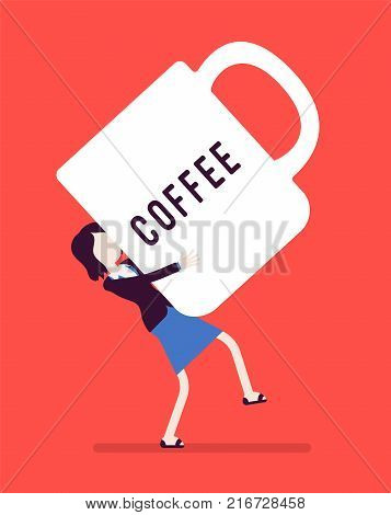 Woman carrying a giant coffee mug. Enjoying a break from work, increasing senses of euphoria and energy, search for relax and inspiration. Vector business concept illustration with faceless character