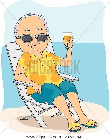 Illustration of a Retiree Enjoying His Vacation