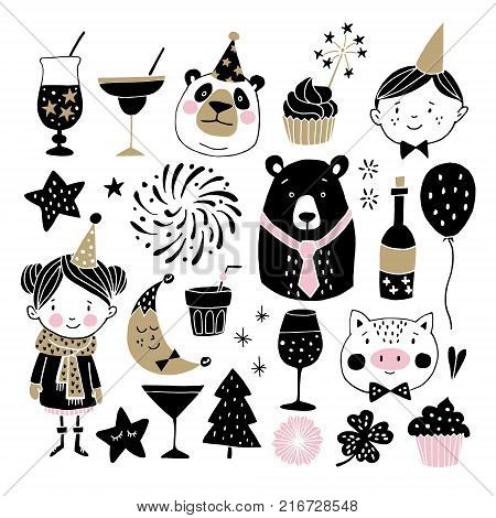 Set of hand drawn New Year or birthday graphic elements. Childrens with party hats, cute bears, pig fireworks, drinks, and decorations. Scandinavian kids design, photo booth props. Isolated vectors.