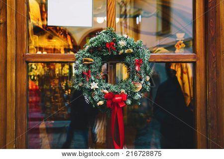Christmas Wreath On The Door In Europe.