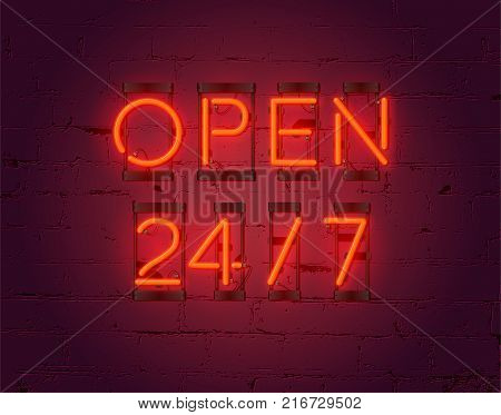 Neon Open 24/7 sign on brick wall background. Realistic glowing neon inscription. Open 24 Hours. Vector