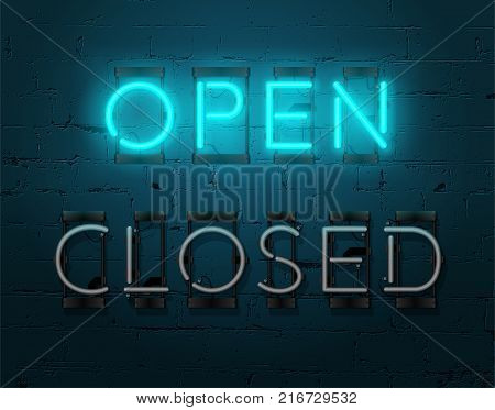 Neon Open sign on brick wall background. Realistic glowing neon inscription. Vector