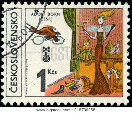 CZECHOSLOVAKIA - CIRCA 1981: The stamp printed in Czechoslovakia shows Illustration lady, circa 1981