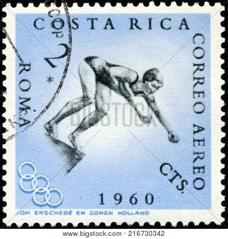 ROMANIA - CIRCA 1960: A stamp printed in the Romania shows Swimming, Summer Olympics, Roma 60, circa 1960