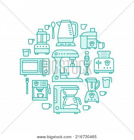 Kitchen small appliances equipment banner illustration. Vector flat line icons of household cooking tools - blender mixer, coffee machine, microwave, food processor, toaster. Electronics circle template.