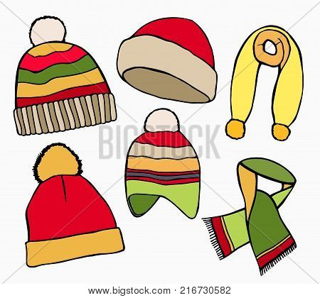 Hand drawn Set Vector collection of knitted woolen Hat and scarves. Winter hat, scarves and vector illustration set winter icons. Isolated on white background