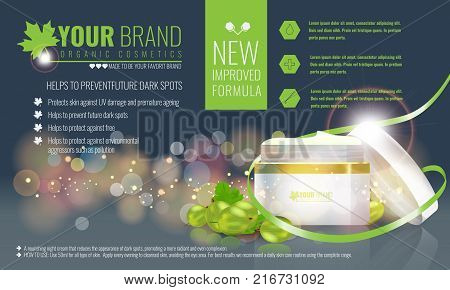 Vector illustration of Beautiful hydrating facial cream cosmetic ads on bubble background. Illustrated vector.