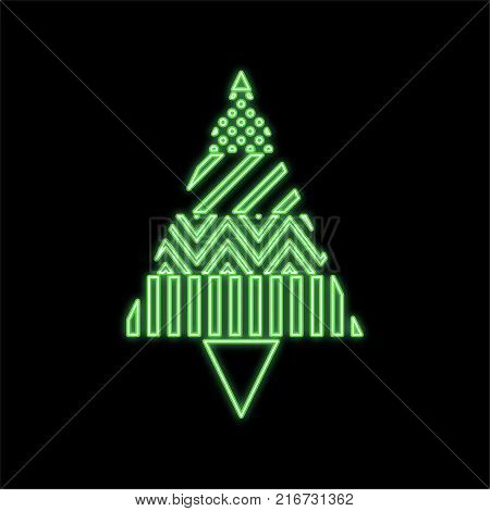 Christmas tree with a geometric pattern with a luminescence effect. Vector illustration.