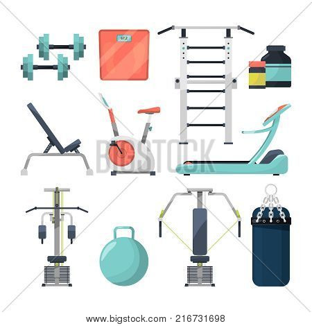 Different fitness items for gym. Illustration of equipment for bodybuilding. Fitness gym objects barbell and dumbbell