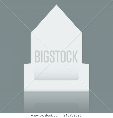 Empty Cardboard display box mockup with front viewpoint. Realistic drawing. Vector illustration