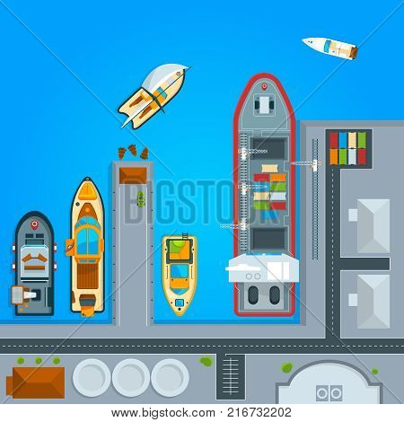 Ship and sea boats in dock. Top view illustrations ship and boat, water transportation vector