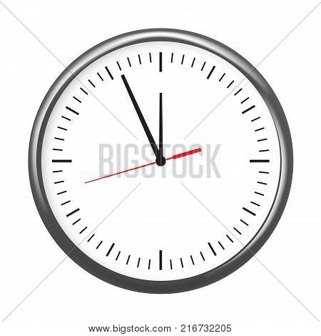 Black wall office clock icon showing five minutes to twelve. For new year concept. Illustrated vector.