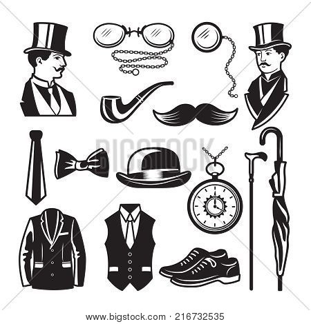 Retro pictures in victorian style. Illustrations for gentleman club labels. Gentleman in victorian english style and fashion, clothing dandy vector