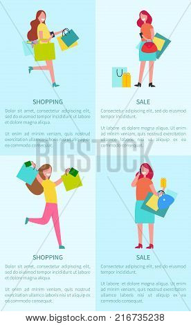 Shopping and sale set of four posters which demonstrating women with bags, happy because of buying things and text sample vector illustration