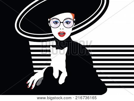 Fashion woman with a cat in style pop art. Vector illustration
