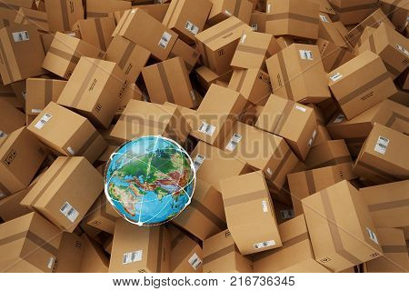 Closed cardboard boxes and wrapped with adhesive. Earth globe map on boxes. Concept of internetional shipment and globalization. 3D Rendering
