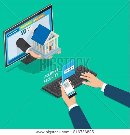 Online banking service account security concept. Mans hands typing password on PC from message on phone isometric vector. Passing two step verification during login in bank client page 3d illustration