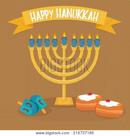 Happy Hanukkah greeting card design. Hanukkah Menorah icon. Vector illustration
