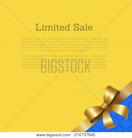 Limited sale certificate card design with ribbon and gold bow knot in corner vector illustration with text isolated on yellow with tape on blue