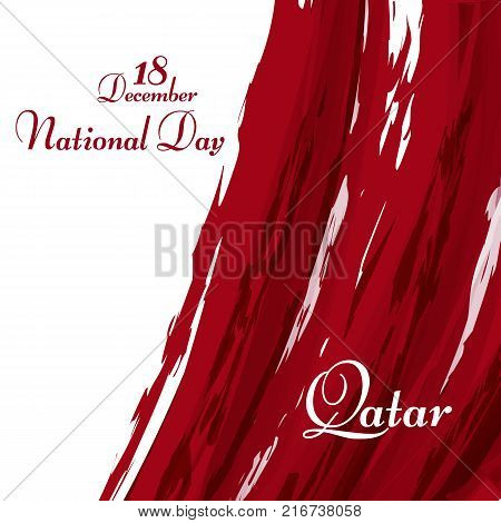 National flag of the Qatar Abstract grunge background of colors of the flag with the text of Happy National Day 18 december Qatar National symbol for template card holiday Abstract background Vector