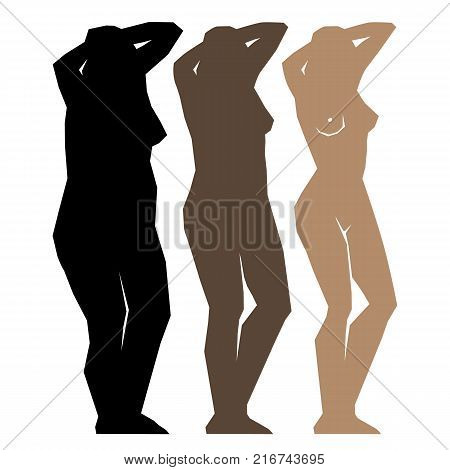 Silhouette young woman. Fat and slim girls. figure, before and after