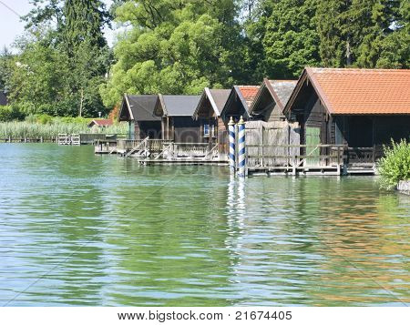 Houses at the lake Starnberg in Bavaria Germany Tutzing