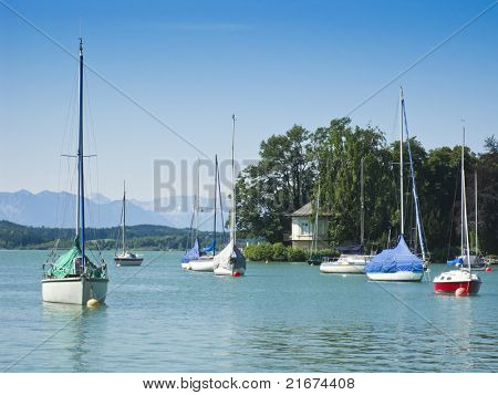 Boats in Tutzing Lake Starnberg in Bavaria Germany