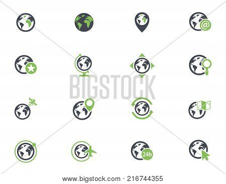 globes simple vector icons in two colors