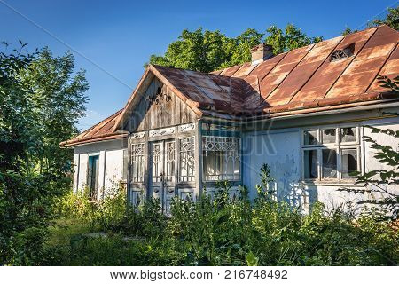 Desolate cottage in small village in Zalischyky region Ukraine
