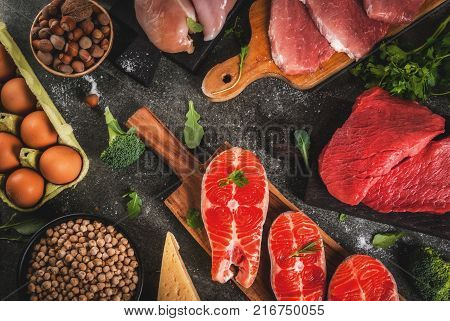 Healthy food background. Selection of protein sources: beef and pork meat chicken filet salmon fish egg beans nuts milk. Top view copy space dark background