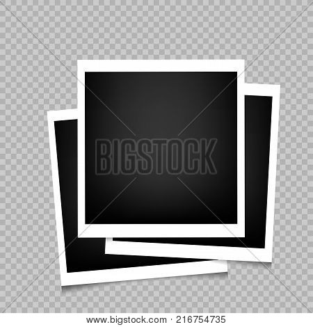 Photo frames with shadow on transparent background. Photograph empty blank template. Retro memory pictures