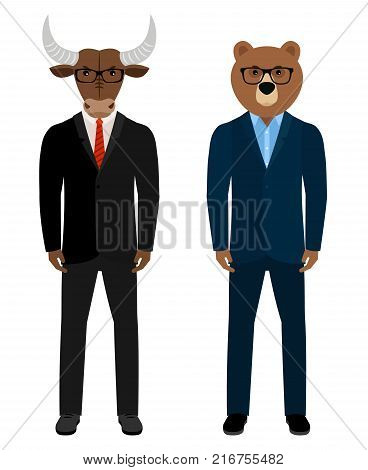 Bear and bull businessmen traders. Bear man and bull man in business suits isolated on white background, vector illustration