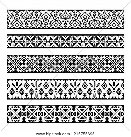 Ethnic pattern stripes. Black and white tribal mexican geometric seamless pattern borders isolated on white background