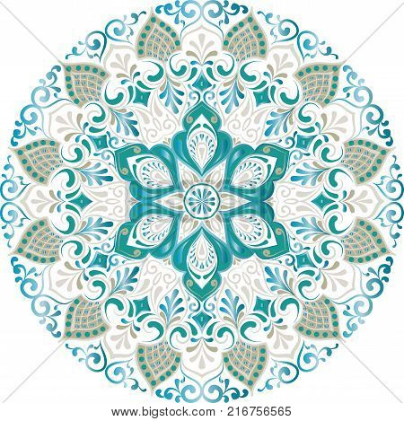 Drawing of a floral mandala with blue, green and beige colors on a white background. Hand drawn tribal vector stock illustration