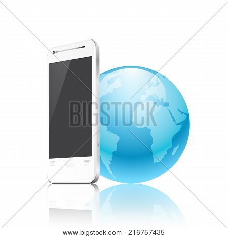 phone and earth, mobile internet concept. EPS10 vector.