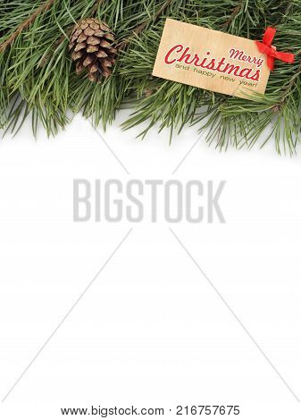 Merry Christmas Everyone greeting card. Branches of New Year tree, bump and wooden plate on a white background. poster