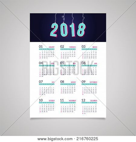 Abstract 2018 new year wall calendar design with amount letters hunging from a rope