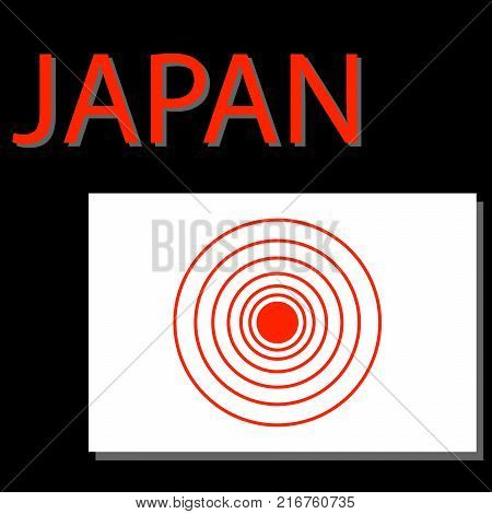 Japan flag with epicenter of strong earthquake