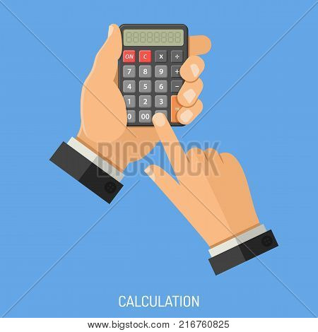 Calculation and Counting Concept. Man holding calculator in hand and does calculation. flat style icons. Isolated vector illustration