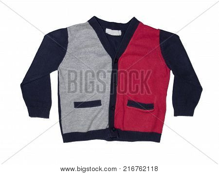Knitted blue jacket for the baby isolated on a white background