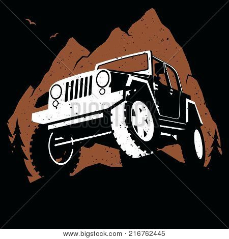 Illustration of off-road 4x4 vehicle on extreme mountain path.
