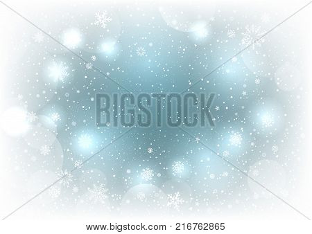 Christmas magic snowy background. Glowing fall snow circle blue clouds sky bokeh backdrop. Christmas snowflakes decoration design template