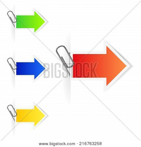 Advertising arrow labels with paperclips. EPS10 vector.