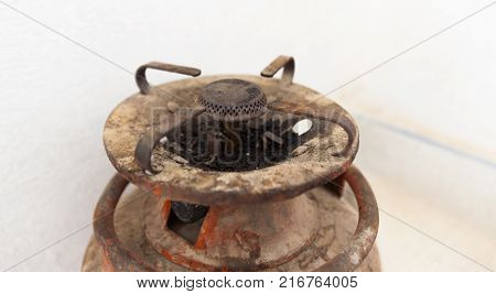 Propane gas cylinder on a white background. old Propane gas