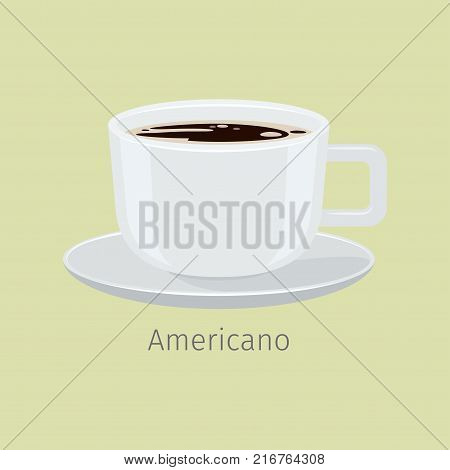 White porcelain cup on saucer with americano flat vector. Hot invigorating drink with caffeine. Brewed with water black coffee illustration for coffee house or cafe menus design