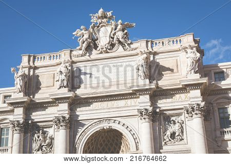 Rome, Italy. One of the most famous landmarks - Trevi Fountain (Fontana di Trevi).