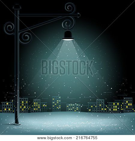 Christmas snow in lamp lights. Snowflakes falls on night city background. Big electric pillar